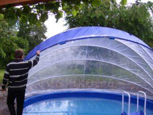 otevírání zastřešení bazénu TROPIKO